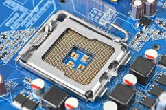 Computer motherboard, CPU socket, DOF Royalty Free Stock Image