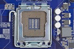 Computer motherboard, CPU socket, DOF Royalty Free Stock Photo