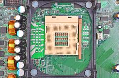 Computer motherboard, CPU socket Royalty Free Stock Photography