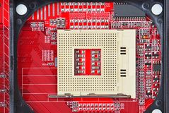 Computer motherboard, CPU socket Royalty Free Stock Images