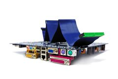 A computer motherboard with IDE cable on top Royalty Free Stock Images