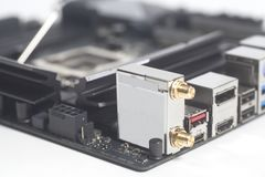 Computer motherboard Intel LGA 1151 cpu socket and other details stock photography