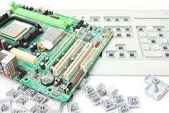 Computer motherboard and keyboard Stock Photo