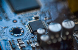 Computer motherboard micro chip circuit close up Royalty Free Stock Images