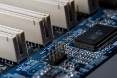 Computer motherboard ports Royalty Free Stock Photo