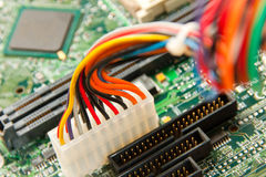 Computer motherboard power lines Stock Photo