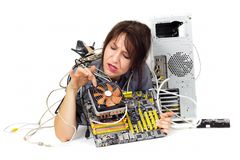 Computer motherboard problem Stock Images