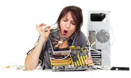 Computer motherboard problem Royalty Free Stock Photos
