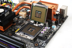 Computer Motherboard with Processor chip Royalty Free Stock Photography