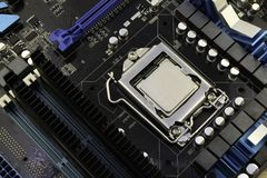Computer motherboard, with processor installed on it stock photo
