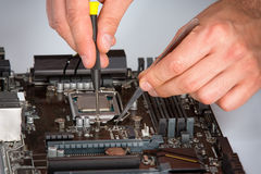 Computer motherboard repair process royalty free stock photo
