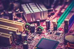 Computer motherboard - retro and vintage style Royalty Free Stock Photos