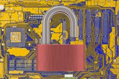 Computer Motherboard With Unlocked Padlock. On Light Background. Vulnarable To Attack  Concept Stock Images
