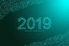 Computer motherboard vector background with circuit board electronic elements. Text design Christmas and Happy new year. 2019. Electronic texture for computer royalty free illustration