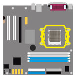 Computer motherboard on a white background. Flat vector isolated illustration stock photos