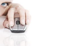 Computer mouse. Young woman with computer mouse Stock Photos