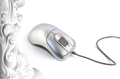 Computer mouse. Isolated on a white background, decorated with ornaments Royalty Free Stock Photography