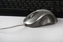 Computer Mouse. With black keyboard Royalty Free Stock Photography