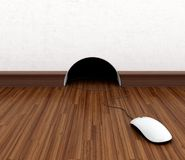 Computer mouse. Hidden in burrow. Fun concept Stock Photography