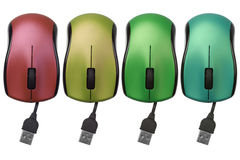 Computer mouse. Row of Colorful USB Computer Mouse on White Background Royalty Free Stock Photo