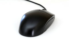 Computer mouse. A black computer mouse on a white background Stock Photo