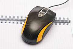 Computer mouse. Computer mouse on the notebook Stock Photos