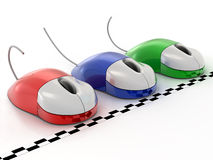 Computer mouse. Three computer mouses on white background Stock Illustration