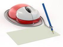 Computer mouse. And pencil on white background stock illustration
