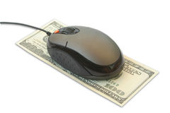 Computer mouse. On the dollar Stock Images