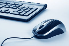 Computer mouse. With blue background Royalty Free Stock Photo