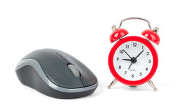 Computer mouse with alarm clock Stock Photography