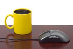 Computer Mouse And Coffee Cup Royalty Free Stock Photography
