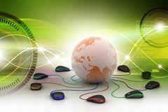 Computer mouse around the earth. 3d illustration of computer mouse around the earth Stock Image