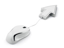 Computer mouse with arrow cursor. 3d illustration  on background white background Royalty Free Stock Images