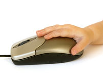 Computer mouse and baby hand Stock Images