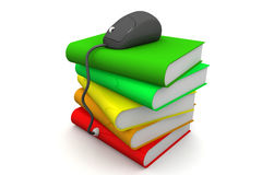 Computer mouse on books vector illustration