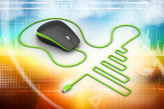 Computer mouse with cable Stock Photography