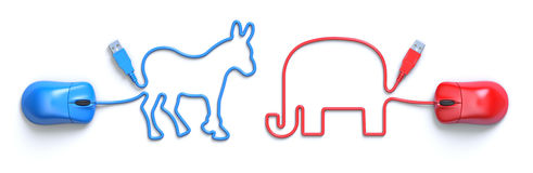 Computer mouse and cable in the shape of the donkey and the elephant Stock Photography