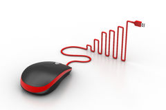 Computer mouse with cable shaped like a graph Stock Photo