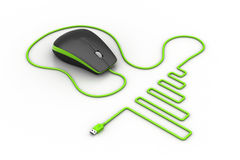 Computer mouse with cable vector illustration