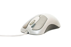 Computer mouse with cable on white Stock Photography