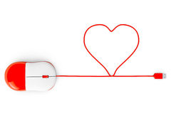 Computer mouse and cables in form of heart on a white Stock Photo