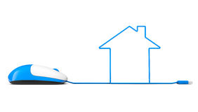 Computer mouse and cables in form of house stock illustration