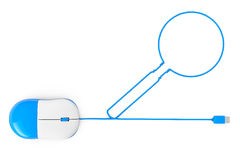 Computer mouse and cables in form of Magnifying Glass. On a white background stock photos