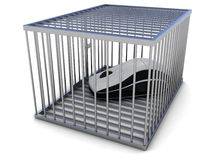 Computer mouse in cage Royalty Free Stock Photography