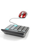 Computer mouse and calculator Stock Images