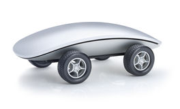Computer Mouse Car. Computer mouse with car wheels on a white background stock illustration