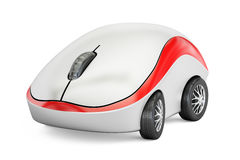 Computer Mouse on car wheels, 3D rendering. On white background Stock Photos