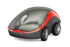 Computer Mouse with car wheels, 3D rendering. On white background Royalty Free Stock Image