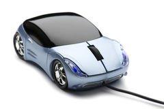 Computer mouse car on white Stock Images